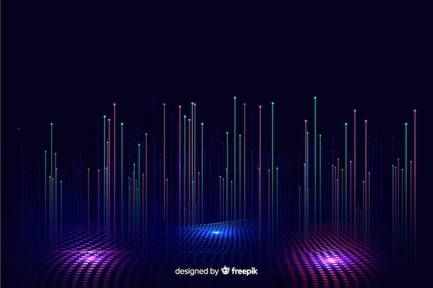 Technological gradient falling particles background Free Vector