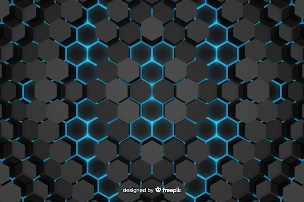 Technological honeycomb background abstract design Free Vector
