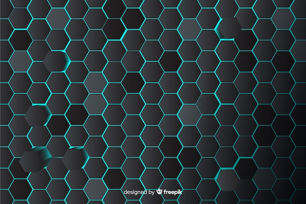 Technological honeycomb background in blue Free Vector