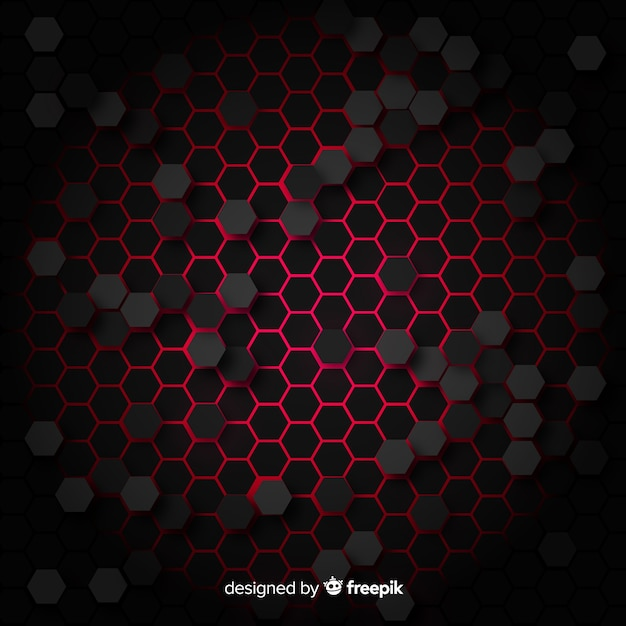 Technological honeycomb background in red Free Vector