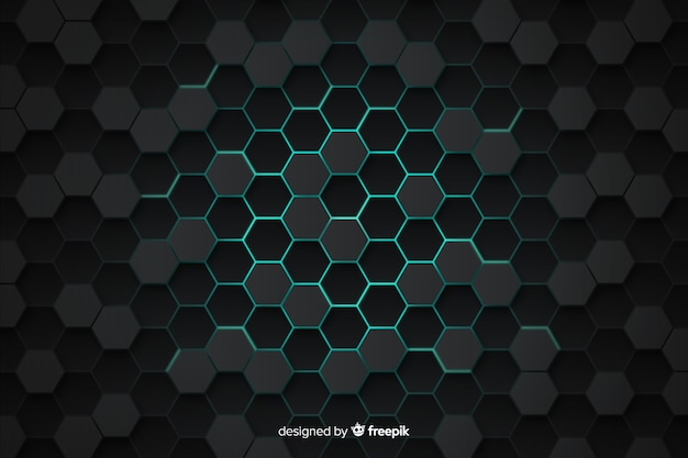 Technological honeycomb grey and blue background Free Vector