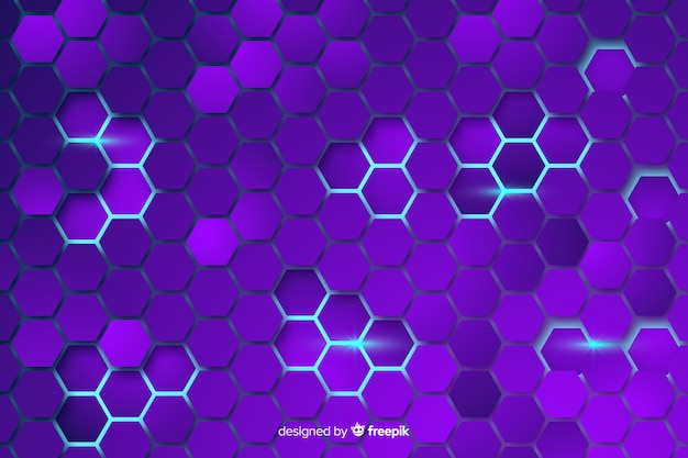 Technological honeycomb purple background Free Vector