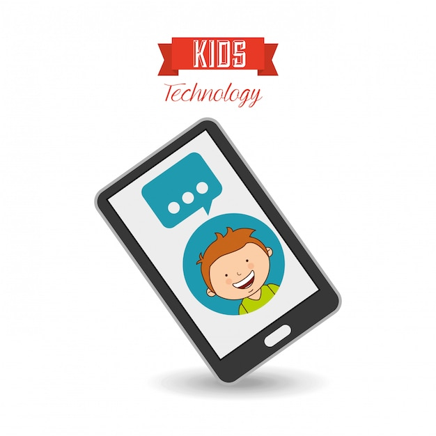 Technological kids Premium Vector