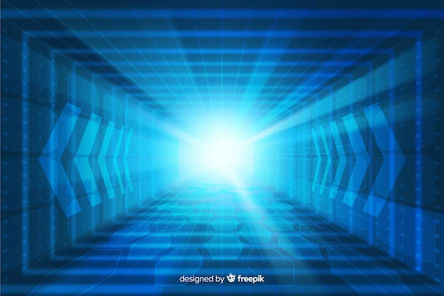 Technological light tunnel futuristic background Free Vector