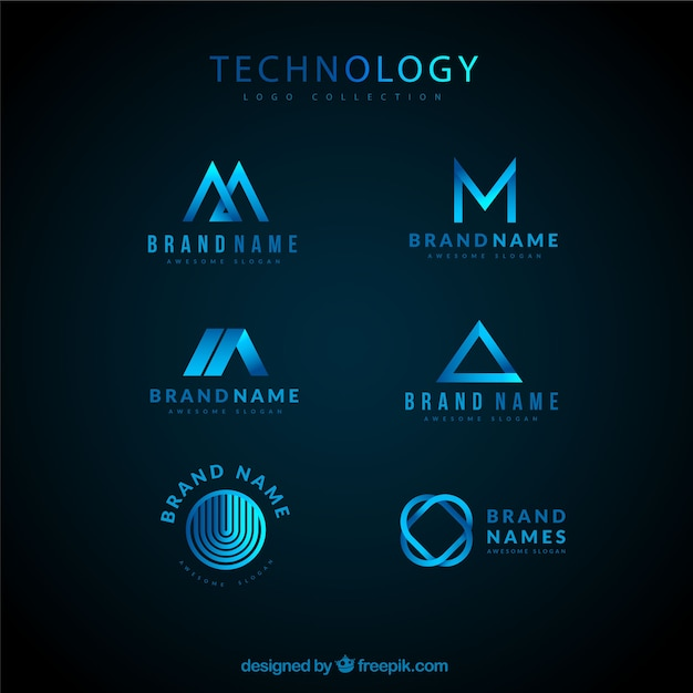 Technological logo collection Free Vector
