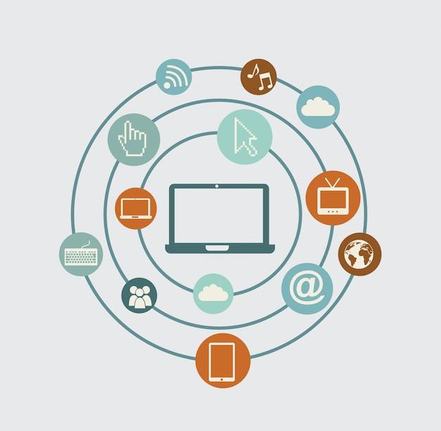 Technological network Premium Vector