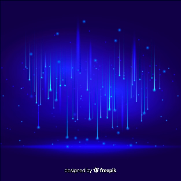 Technological particles falling blue background Free Vector
