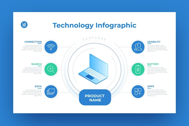 Technological product infographic Free Vector