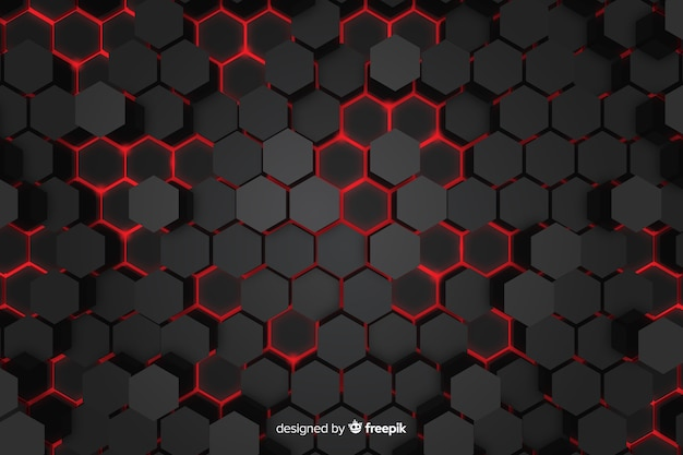 Technological red lights of honeycomb background Free Vector