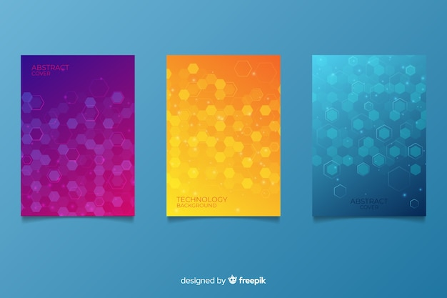 Technological style brochure collection Free Vector
