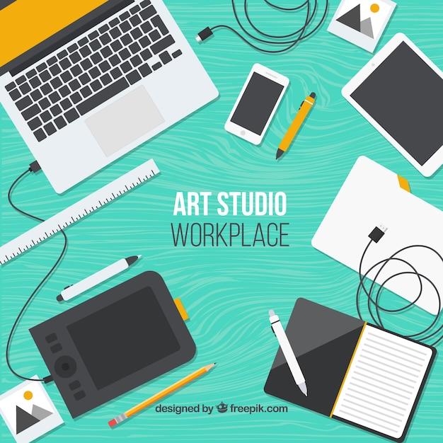Technologies in art studio Free Vector