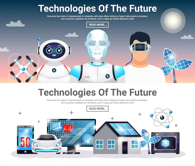 Technologies of future horizontal banners Free Vector