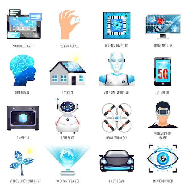 Technologies of future icons set Free Vector