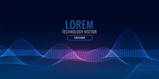 Technology 3d mesh digital background Free Vector