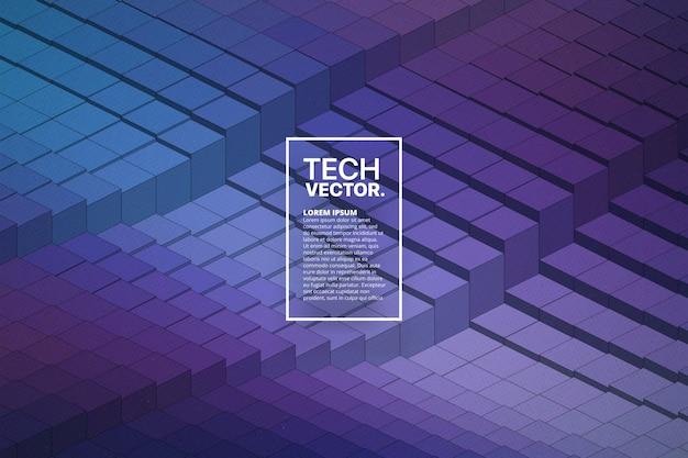 Technology 3d waveform abstract vector background Premium Vector