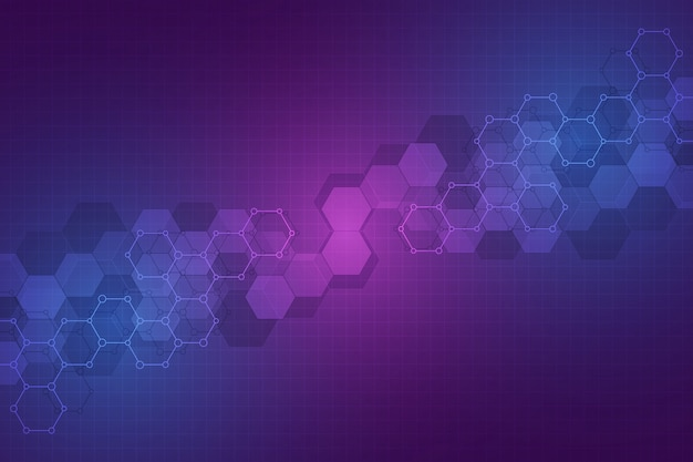 Technology abstract background. geometric texture with molecular structures and chemical engineering Premium Vector
