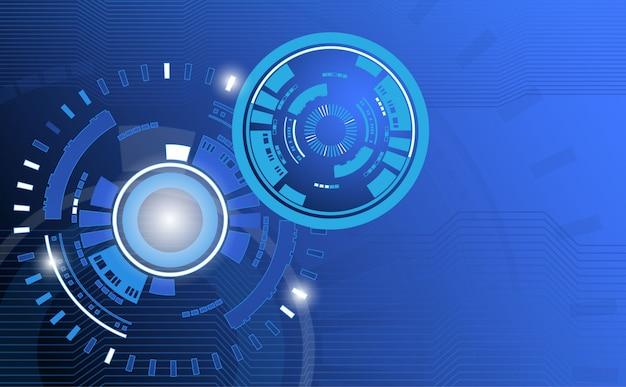 Технология абстрактный фон с кругом и линией рисунком Premium векторы