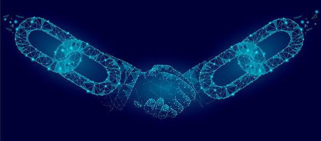 Technology agreement business concept low poly. Premium Vector