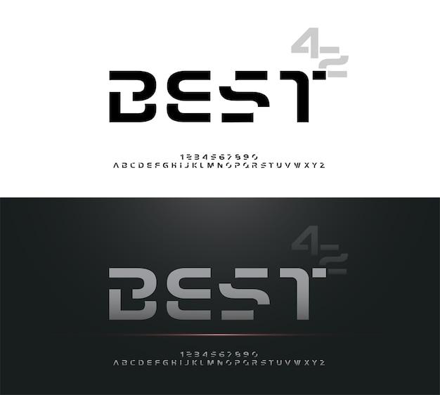 Technology alphabet silver metallic. exclusive letters Premium Vector