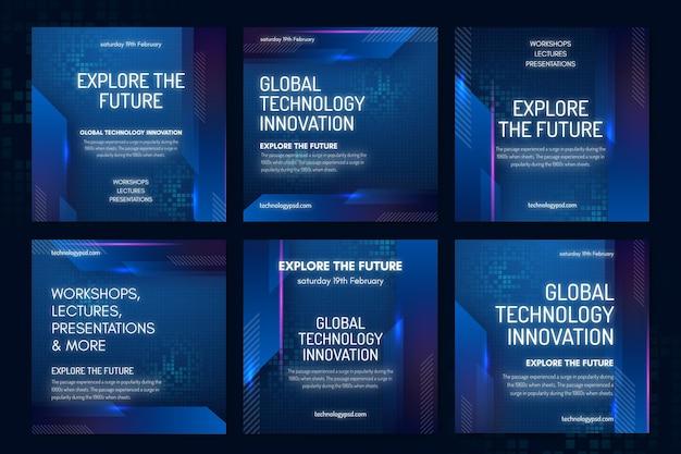 기술 및 미래 Instagram 게시물 템플릿 프리미엄 벡터