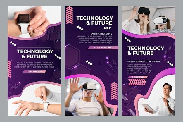 기술 및 미래 instagram 이야기 모음 무료 벡터