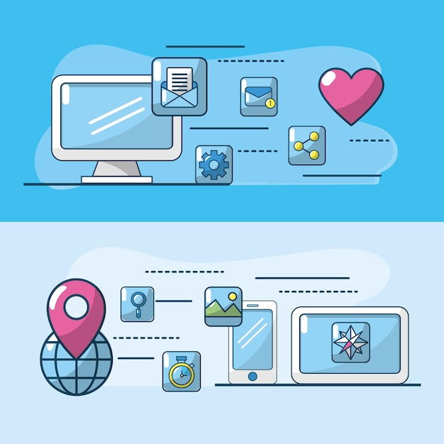 Technology apps connection to digital media data Premium Vector