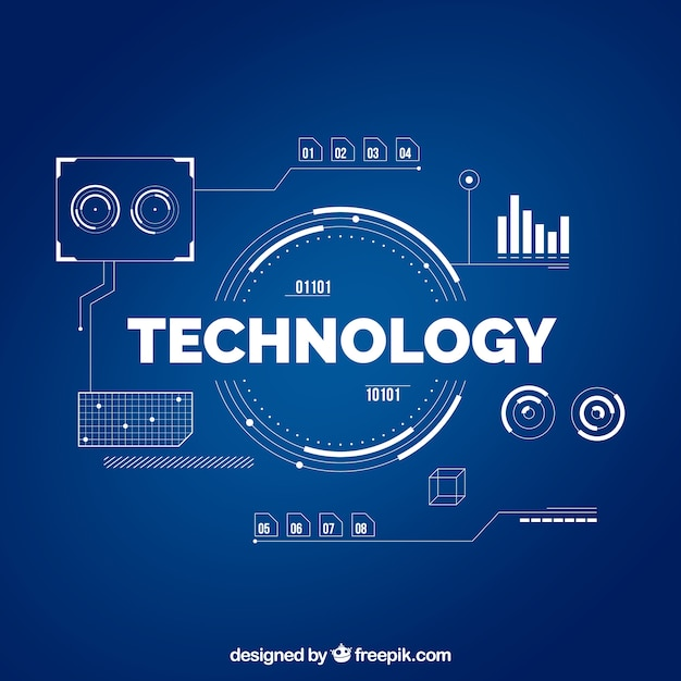 Technology background in flat style Free Vector