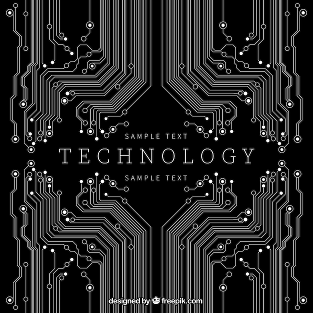 Technology background in black color Free Vector
