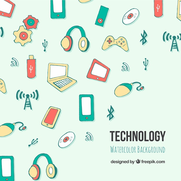 Technology background in hand drawn\ style