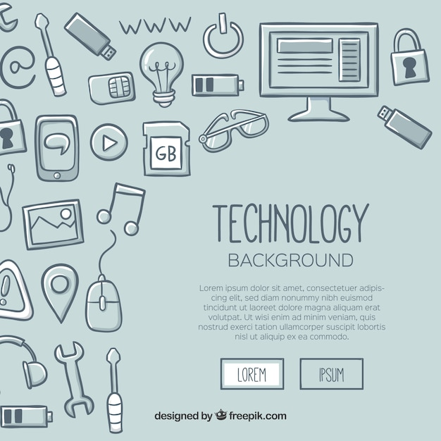 Technology background in hand drawn style Free Vector