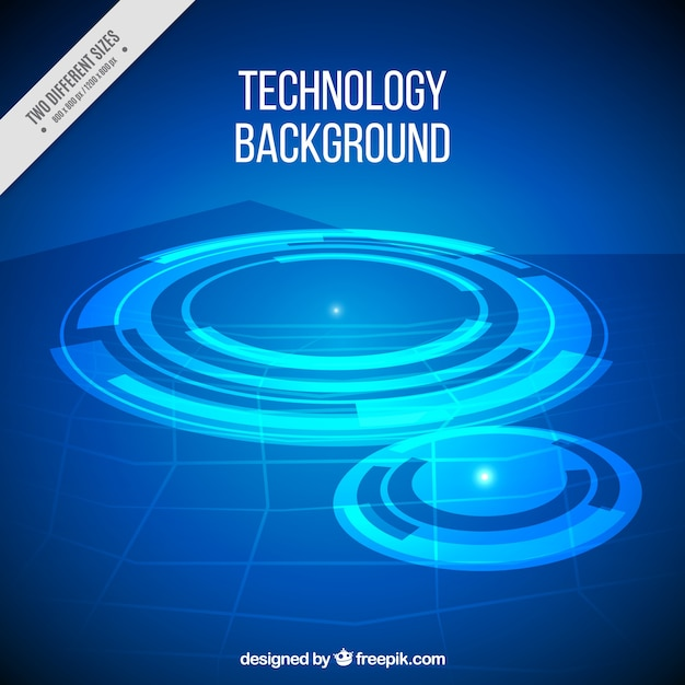 Technology background with abstract elements in\ blue tones