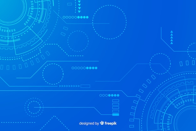 Technology background with abstract hud Free Vector