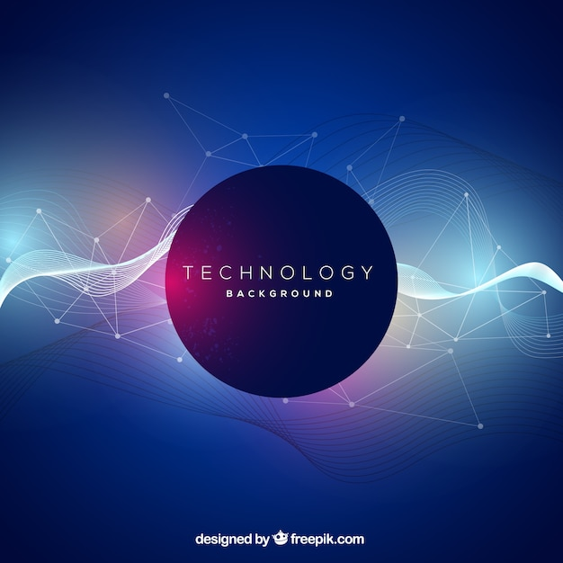 Technology background with abstract waves Free Vector