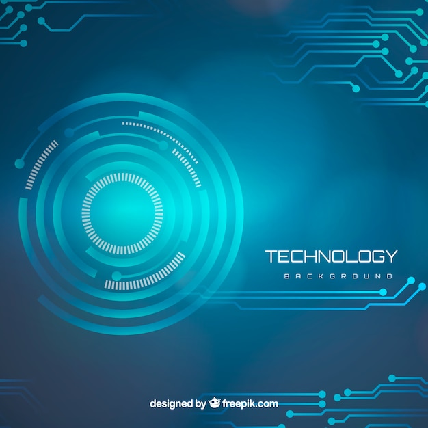 Technology background with circles and circuits
