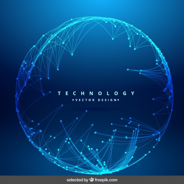 Technology background with circular mesh Free Vector