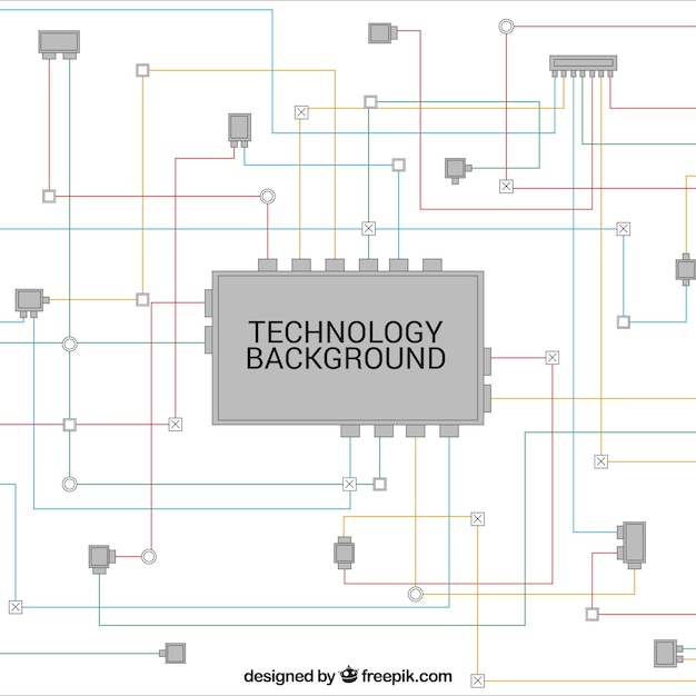 Technology background with colored lines