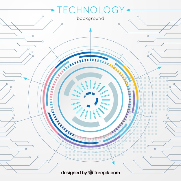 Technology background with connection in flat style Free Vector