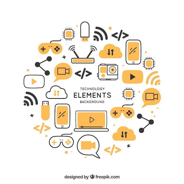 Technology background with devices in flat style Free Vector