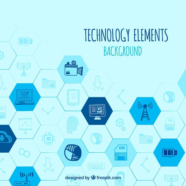 Technology background with devices in hand drawn style Free Vector