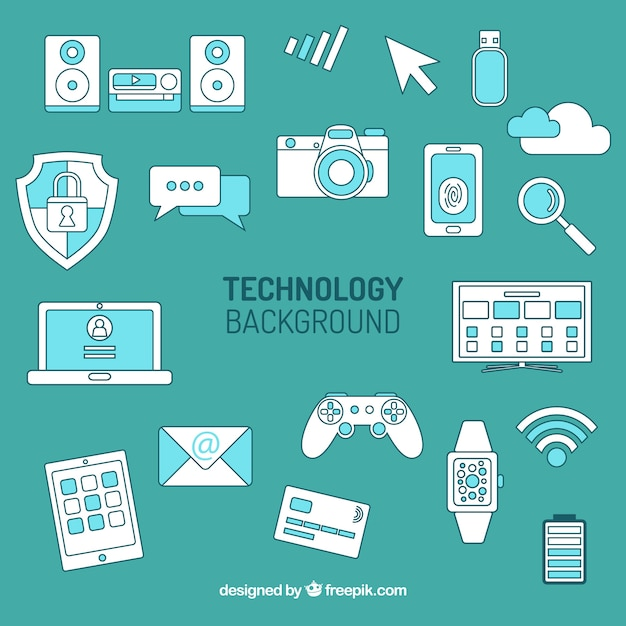 Technology background with devices