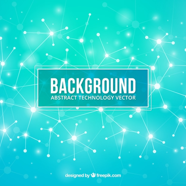 Technology background with dots and lines Free Vector
