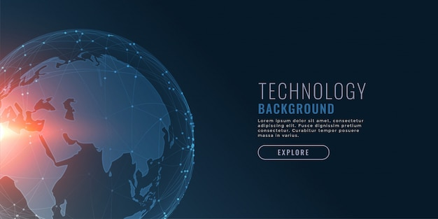 Technology background with earth and connecting dots Free Vector