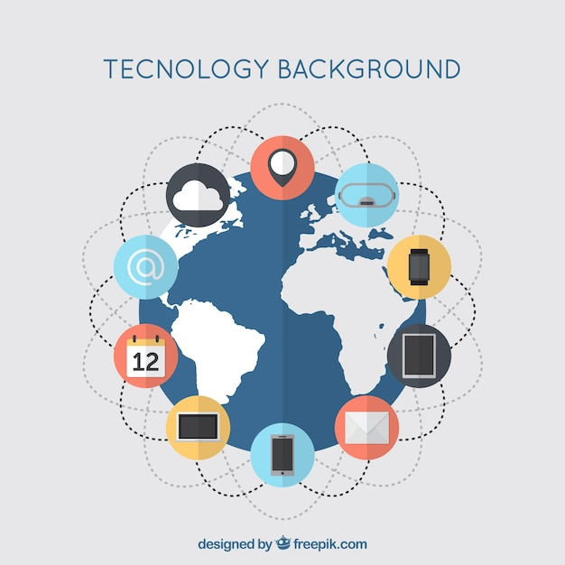 Technology background with elements\ connected