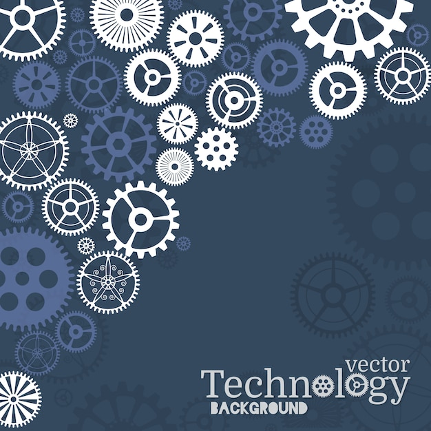 Technology background with gear wheel Premium Vector