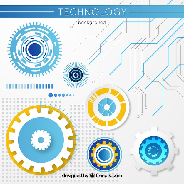 Technology background with gears in flat style Free Vector