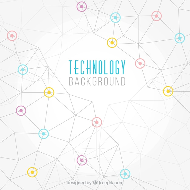 Technology background with geometric lines and\ colored details