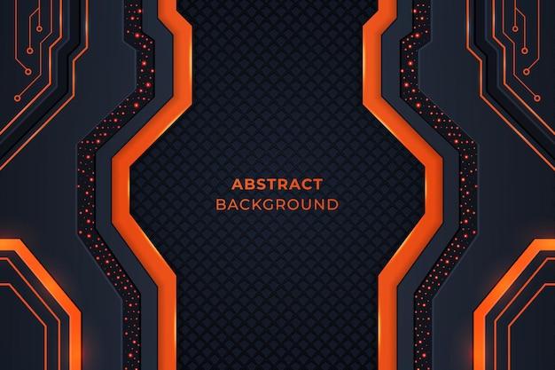 Технологический фон с геометрическими фигурами, схемами и огнями оранжевого и темного цвета. Premium векторы