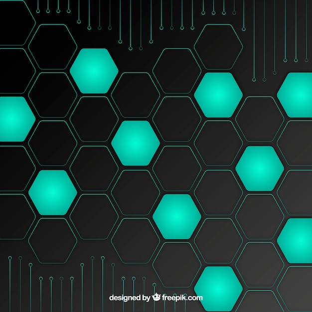 Technology background with hexagons