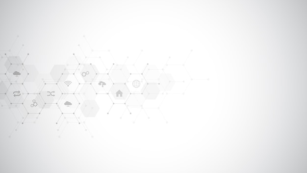 Technology background with  icons and symbols. Premium Vector