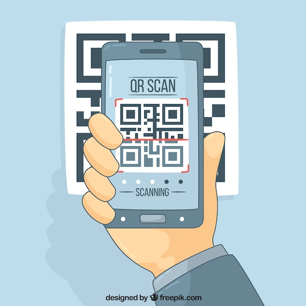 Technology background with mobile and qr code Free Vector
